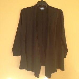 Black Tanjay open front drape peplum back jacket